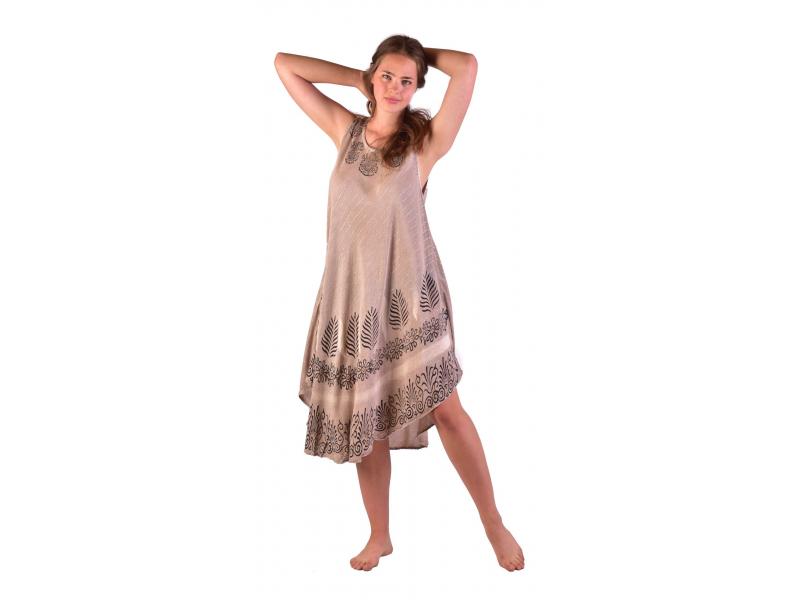 Delší šaty bez rukávu, béžové, potisk, s lurexem