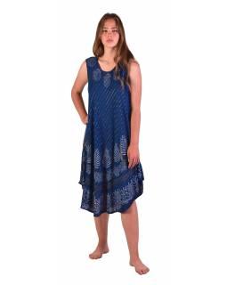 Delší šaty bez rukávu, tmavě modré, potisk, s lurexem