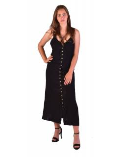 Dlouhé černé šaty na ramínka, výšivka, celopropínací na knoflíky