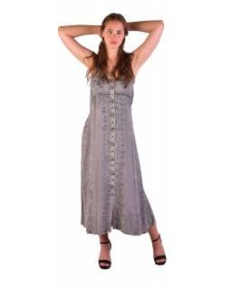 Dlouhé šedé šaty na ramínka, výšivka, celopropínací na knoflíky