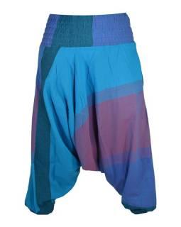 Tyrkysovo fialové turecké kalhoty s žabičkováním a kapsami