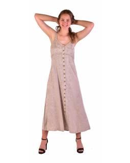 Dlouhé béžové šaty na ramínka, výšivka, celopropínací na knoflíky
