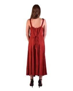 Dlouhé červené šaty na ramínka, výšivka, celopropínací na knoflíky