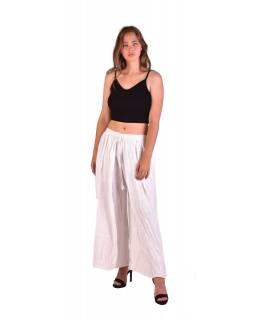 Dlouhé thajské kalhoty, bílé, pružný pas, výšivka