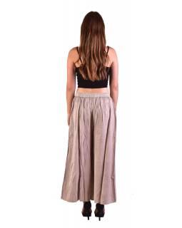 Dlouhé thajské kalhoty, béžové, pružný pas, výšivka