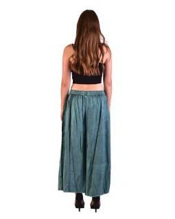 Dlouhé thajské kalhoty, mentolové, pružný pas, výšivka