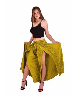 Dlouhé thajské kalhoty, žluté, pružný pas, výšivka