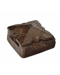 Krabička na Tiku, antik, teakové dřevo, ručně vyřezaná, 11x12x6cm