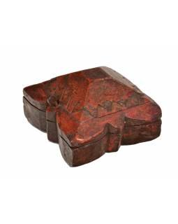 Krabička na Tiku, antik, teakové dřevo, ručně vyřezaná, 14x13x8cm