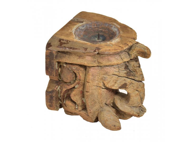 Antik svícen, teak, vyřezávaný, 10x11x11cm