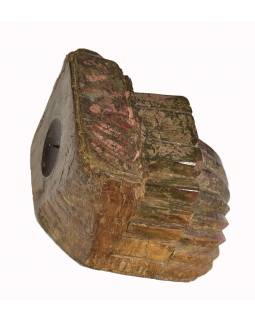 Antik svícen z mangového dřeva, 15x16x11cm
