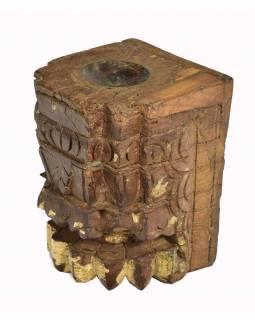 Antik svícen z mangového dřeva, 12x13x17cm