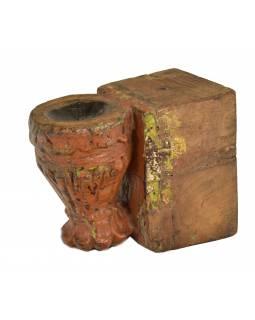 Antik svícen z mangového dřeva, 10x17x14cm