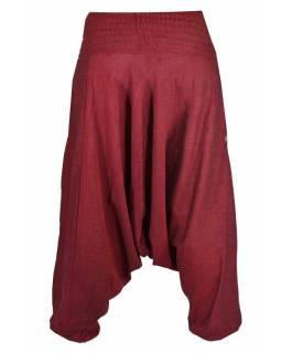 Vínové turecké kalhoty s žabičkováním v pase a kapsami