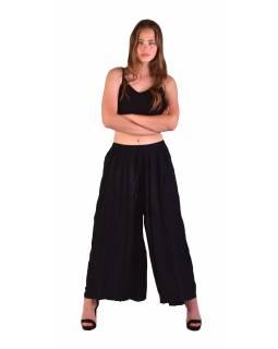 Dlouhé thajské kalhoty, černé, pružný pas, výšivka