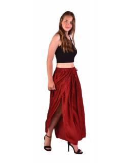 Dlouhé thajské kalhoty, červené, pružný pas, výšivka