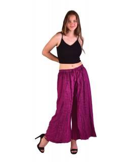 Dlouhé thajské kalhoty, růžové, pružný pas, výšivka