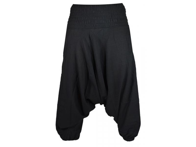 Černé turecké kalhoty s žabičkováním v pase a kapsami  8b61511c47