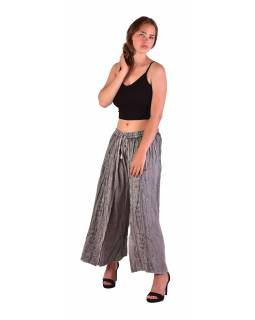 Dlouhé thajské kalhoty, světle šedé, pružný pas, výšivka