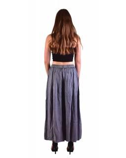 Dlouhé thajské kalhoty, tmavě šedé, pružný pas, výšivka
