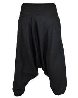 Černé turecké kalhoty s žabičkováním v pase a kapsami