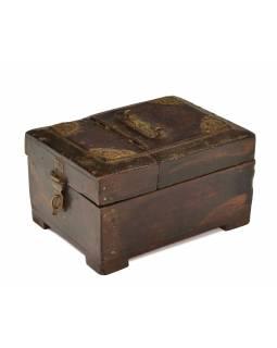 Šperkovnice se zrcátkem z teakového dřeva, antik, 16x20x11cm