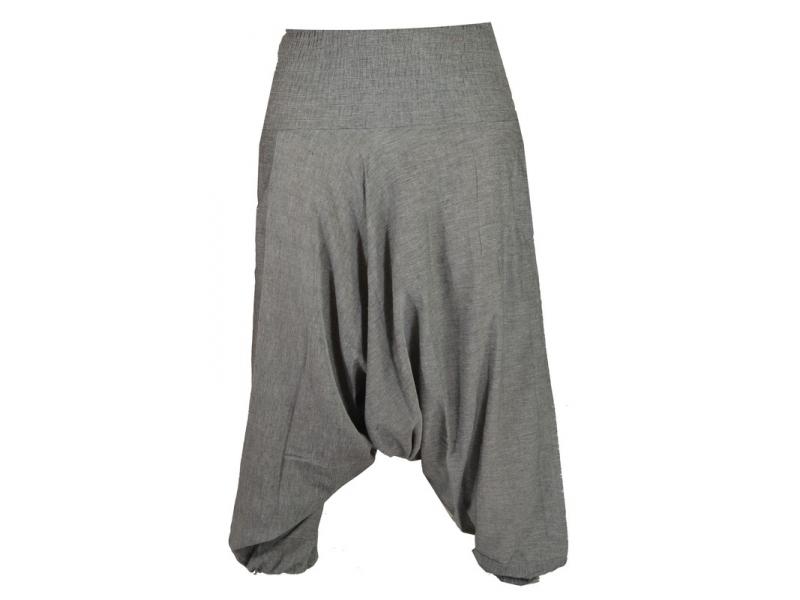 Šedé turecké kalhoty s žabičkováním v pase a kapsami