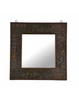 Zrcadlo v rámu z teakového dřeva zdobené starými raznicemi, 55x4x55cm