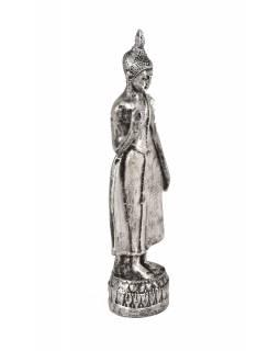 Narozeninový Buddha, pondělí, stříbrná patina, 20cm