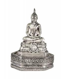 Narozeninový Buddha, čtvrtek, stříbrná patina, 20cm