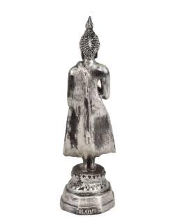 Narozeninový Buddha, pátek, pryskyřice, stříbrná patina, 25cm
