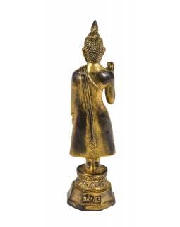 Narozeninový Buddha, pondělí, pryskyřice, zlatá patina, 30cm