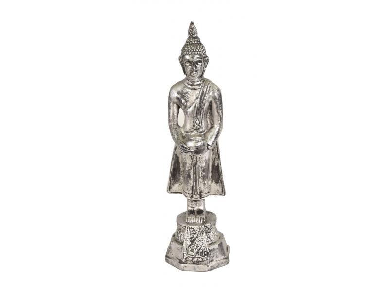 Narozeninový Buddha, středa, pryskyřice, stříbrná patina, 30cm