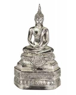 Narozeninový Buddha, čtvrtek, pryskyřice, stříbrná patina, 30cm