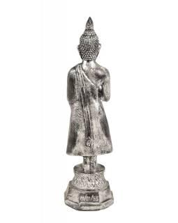 Narozeninový Buddha, pátek,  pryskyřice, stříbrná patina, 30cm
