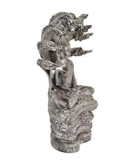 Narozeninový Buddha, sobota,  pryskyřice, stříbrná patina, 30cm