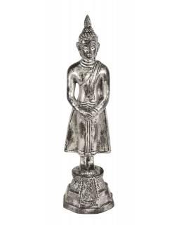 Narozeninový Buddha, neděle,  pryskyřice, stříbrná patina, 30cm