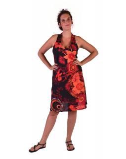 """Šaty, tříčtvrteční, """"Flower Design"""", černo-červené, bez rukávu"""
