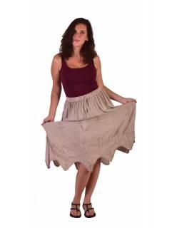 Dlouhá sukně s výšivkou, pružný pas, béžová