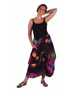 """Dlouhá černá balonová sukně """"Flower Mandala"""" s kapsami"""