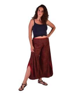 Pohodlné volné kalhoty, široké nohavice, růžové s drobným paisley potiskem