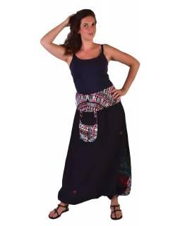 """Černé turecké kalhoty, """"Tree design"""", barevná výšivka, kapsička, bobbin"""