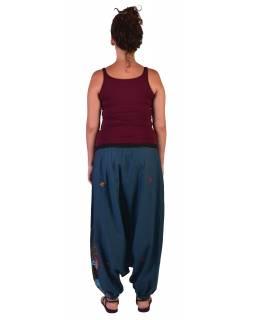 """Petrolejové turecké kalhoty, """"Tree design"""", barevná výšivka, kapsička, bobbin"""