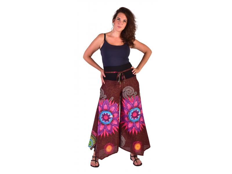 """Hnědé zvonové kalhoty s vysokým pasem, """"Mandala design"""""""