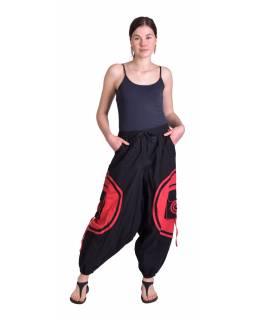 Dlouhé turecké unisex kalhoty, černo-červené, kapsy, pružný pas