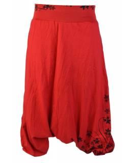 Červené turecké kalhoty s potiskem lístků