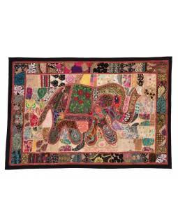 Patchworková tapiserie z Rajastanu, ruční práce, slon, 153x104cm