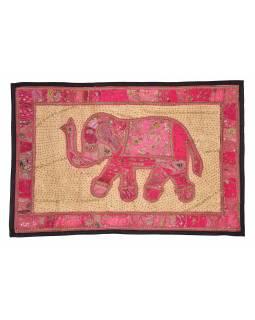 Patchworková tapiserie z Rajastanu, ruční práce, slon, 151x106cm