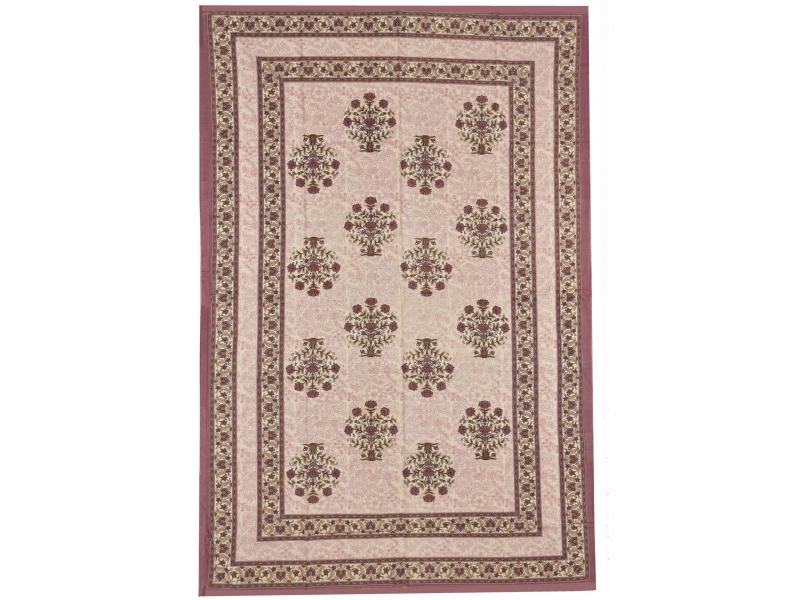 Přehoz na postel s tradičním Indickým vzorem, hnědý, 210x146cm