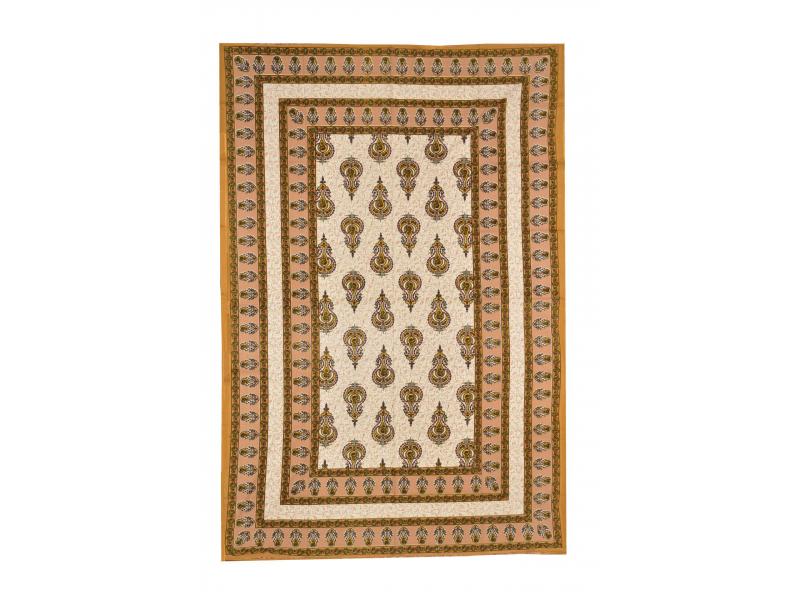 Přehoz na postel s tradičním Indickým vzorem, béžový, 210x146cm